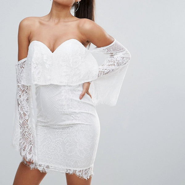 Love Triangle All over Lace Off Shoulder Pencil Dress With Fluted Sleeve Detail - White