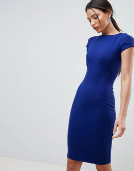 Closet London pencil dress with ruched cap sleeve in blue - Cobalt
