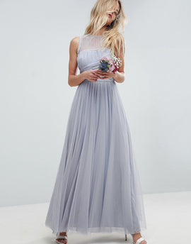 ASOS DESIGN Bridesmaid maxi prom dress with pearl trim - Blue