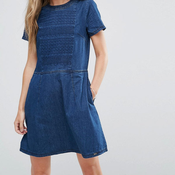 Bellfield Yarrow Jacquard Dress - Denim