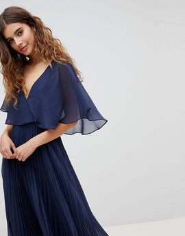 ASOS DESIGN Midi Dress With Pleat Skirt And Flutter Sleeve - Navy