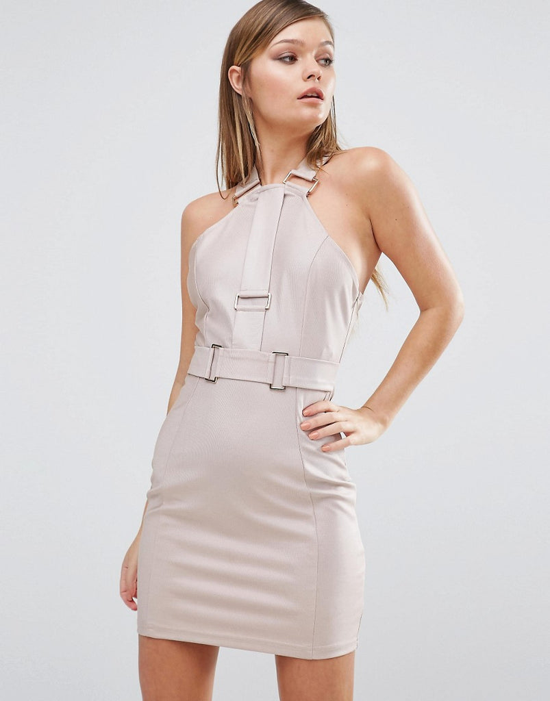 Rare Hardware Strap Mini Dress - Dusky pink