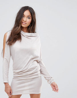 AX Paris Drape Open Split Arm Jumper Dress - Stone