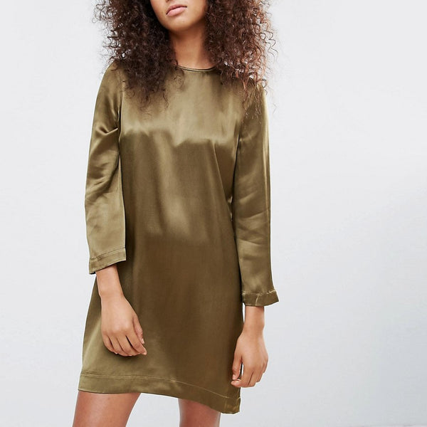 Ganni Sanders Satin Floral Shift Dress - Dark olive