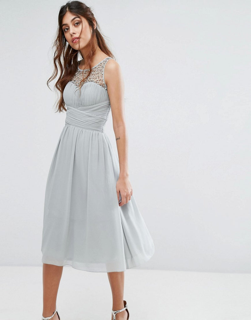 Little Mistress Embellished Midi Dress - Green