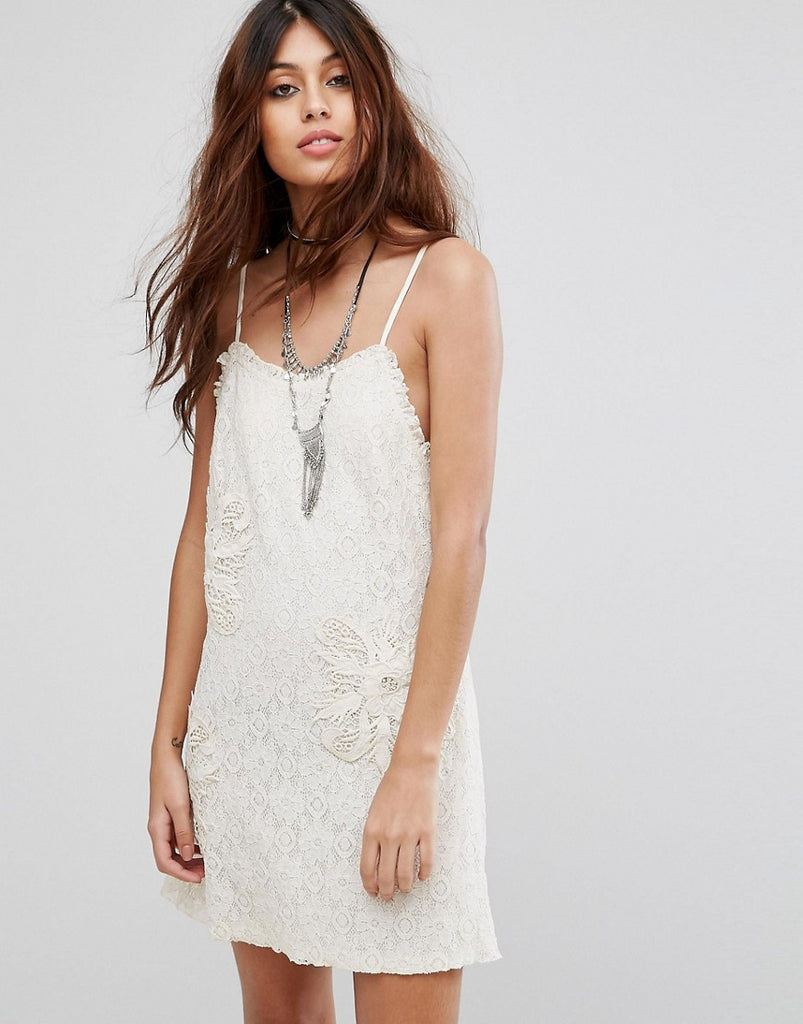 Chandelier Lace Slip Dress With Embroidery and Frill Detail - Cream