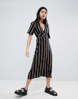 Pull&Bear Button Front Dress In Stripe - Black