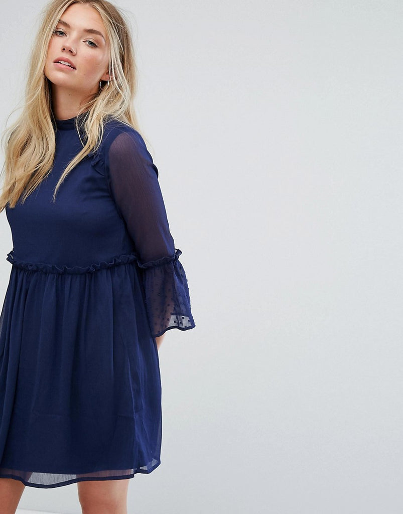Influence Smock Dress With Flare Sleeve - Navy