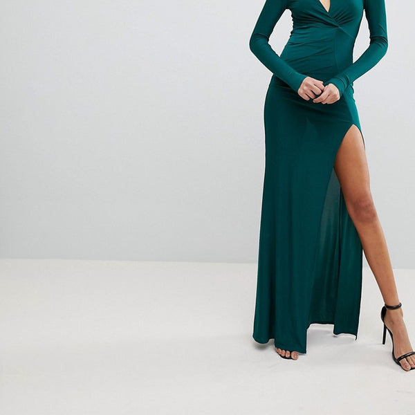 Club L Slinky Maxi Dress with Wrap Front and Clevage Cut - Green