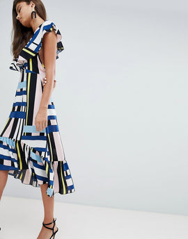 PrettyLittleThing Contrast Stripe Ruffle Sleeve Midi Dress - Multi