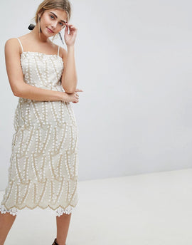 Dolly & Delicious Allover Cutwork Lace Midi Pencil Dress With Crochet Trim Detail - White/gold