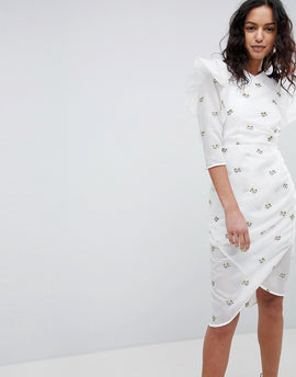 Elliatt Structured Embroidered Dress - White