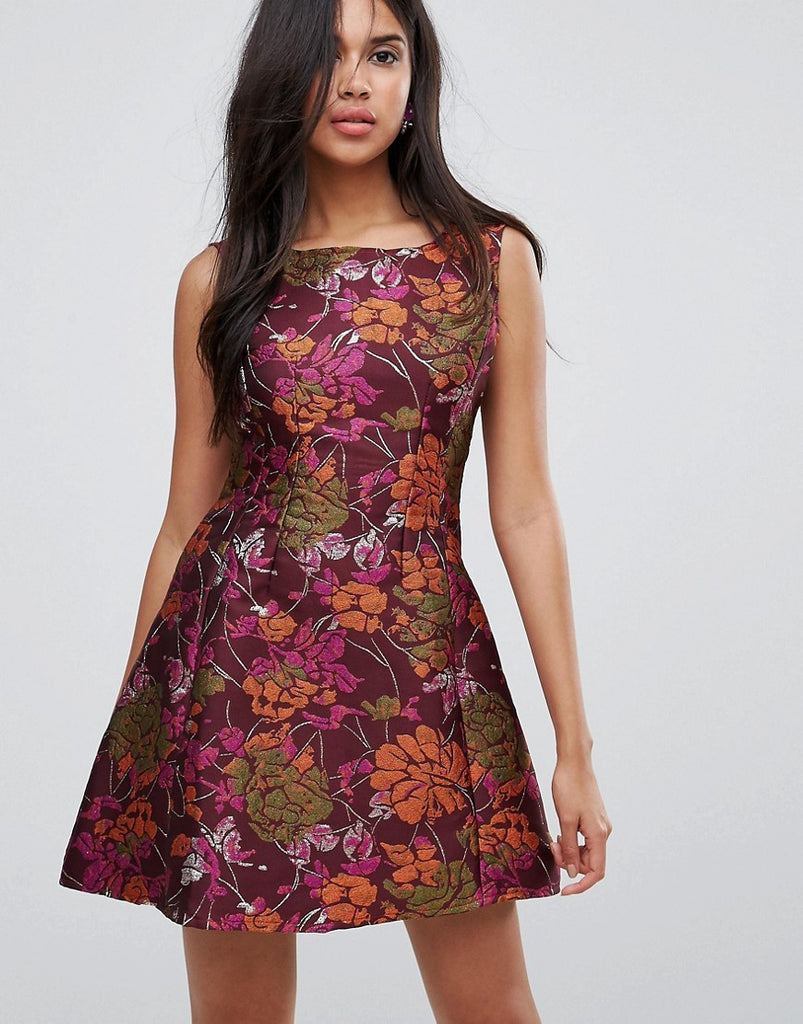 Ax Paris Jacquard Skater Dress - Purple