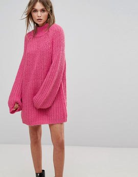 Vero Moda High Neck Oversized Jumper Dress - Pink
