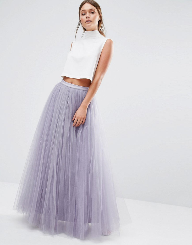 Little Mistress Maxi Tulle Skirt - Dusky lilac