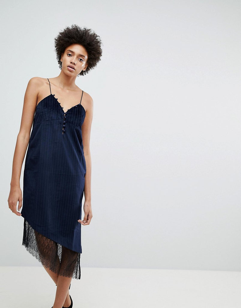 N12H After Hours Lace Trim Slip Dress - Navy stripe