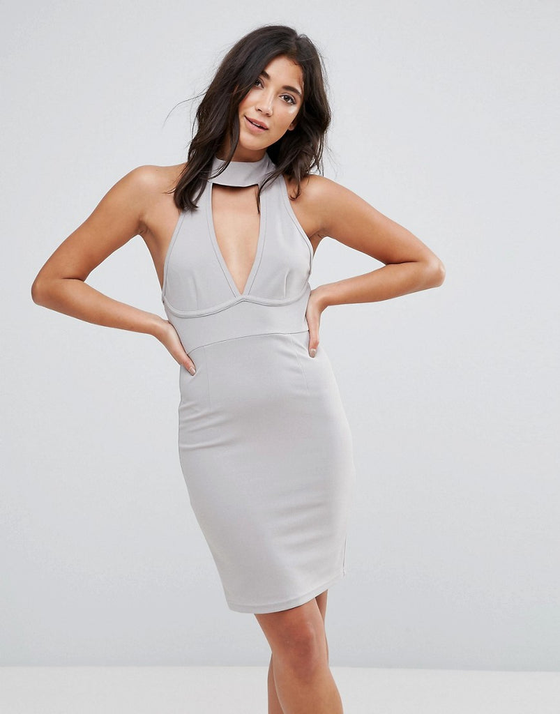 Ax Paris Chocker Neck Bodycon Dress - Silver