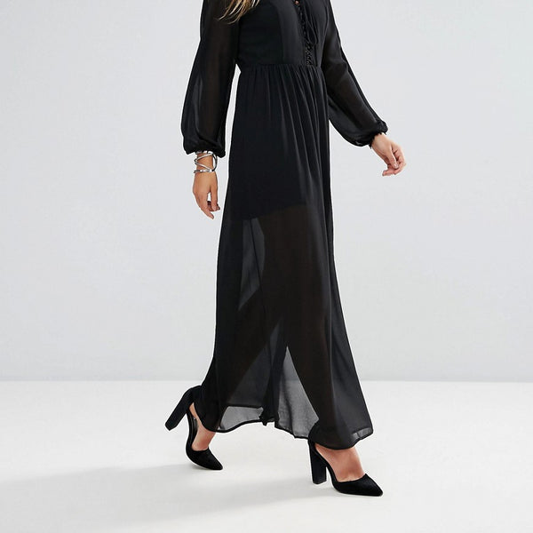 Lunik Shoulder Cut Out Maxi Dress With Button Hold Trim - Black