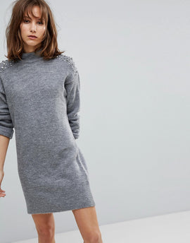 Stradivarius Pearl Embellished Jumper Dress - Grey
