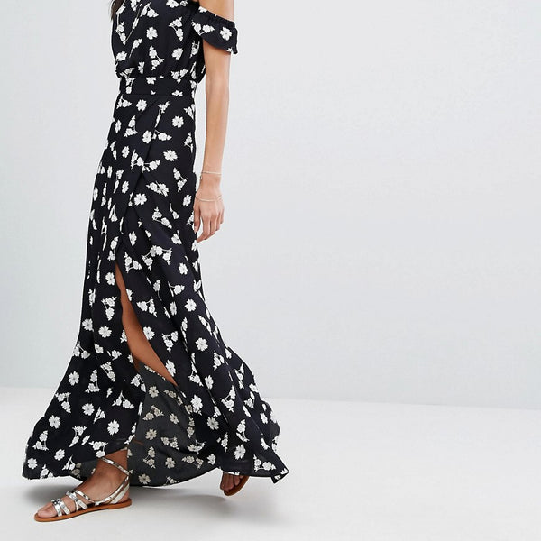 Flynn Skye Bella Maxi Floral Dress - Black bunches