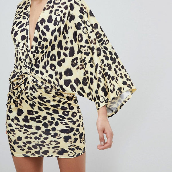 Flounce London Leopard Print Wrap Front Kimono Mini Dress - Yellow leo