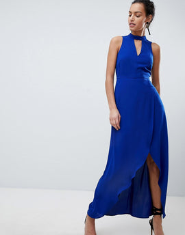 Coast Kimley Tie Up Maxi Dress - Cobalt blue