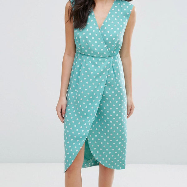Darling Textured Wrap Front Midi Dress - Duck egg