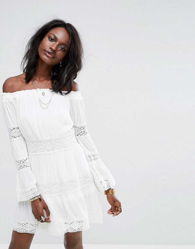 Missguided Cheesecloth Crochet Bardot Dress - White