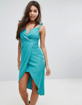 Ginger Fizz Wrap Front Ruched Midi Dress - Bright teal