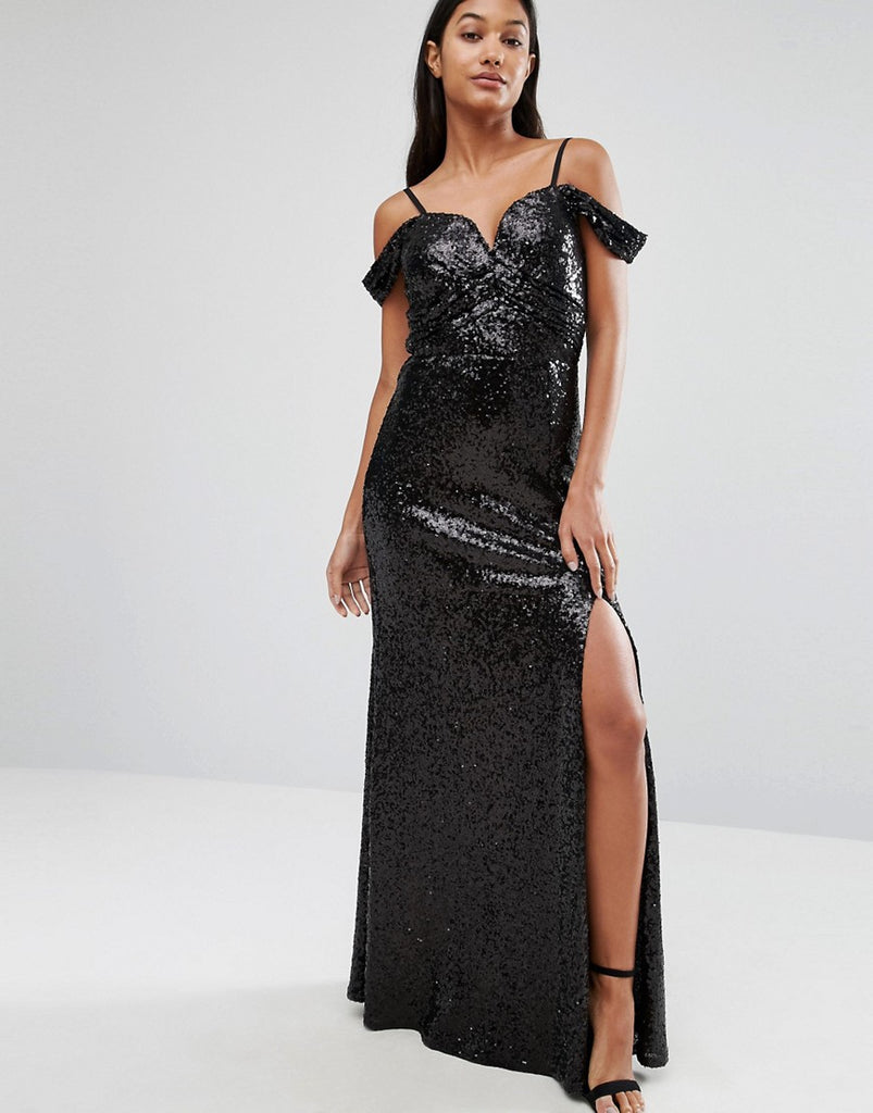 TFNC Sweetheart Sequin Maxi Dress With Cold Shoulder - Black