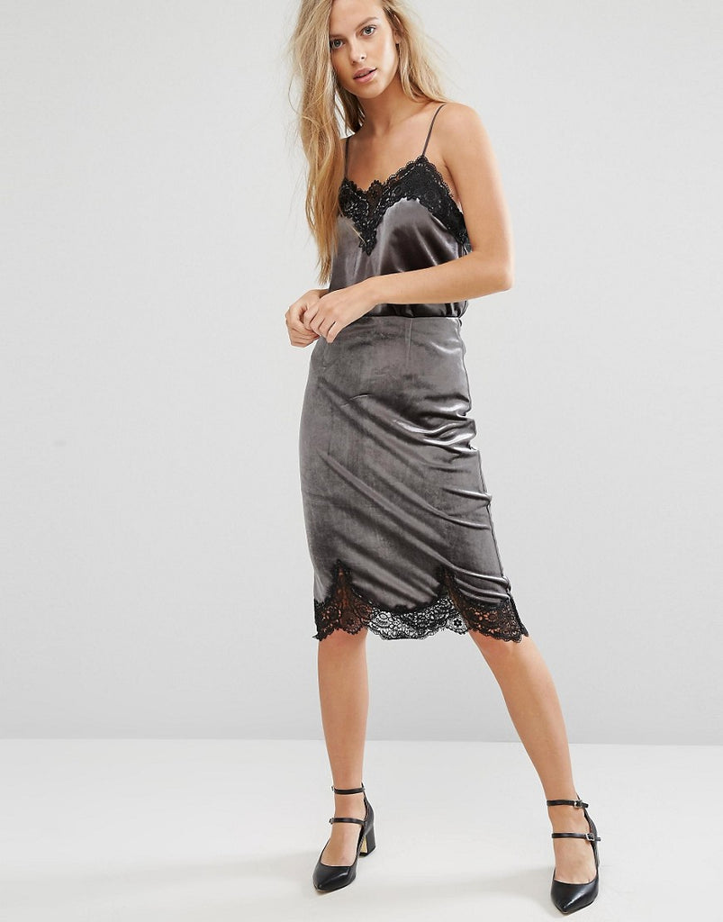 Miss Selfridge Velvet Lace Trim Skirt - Grey