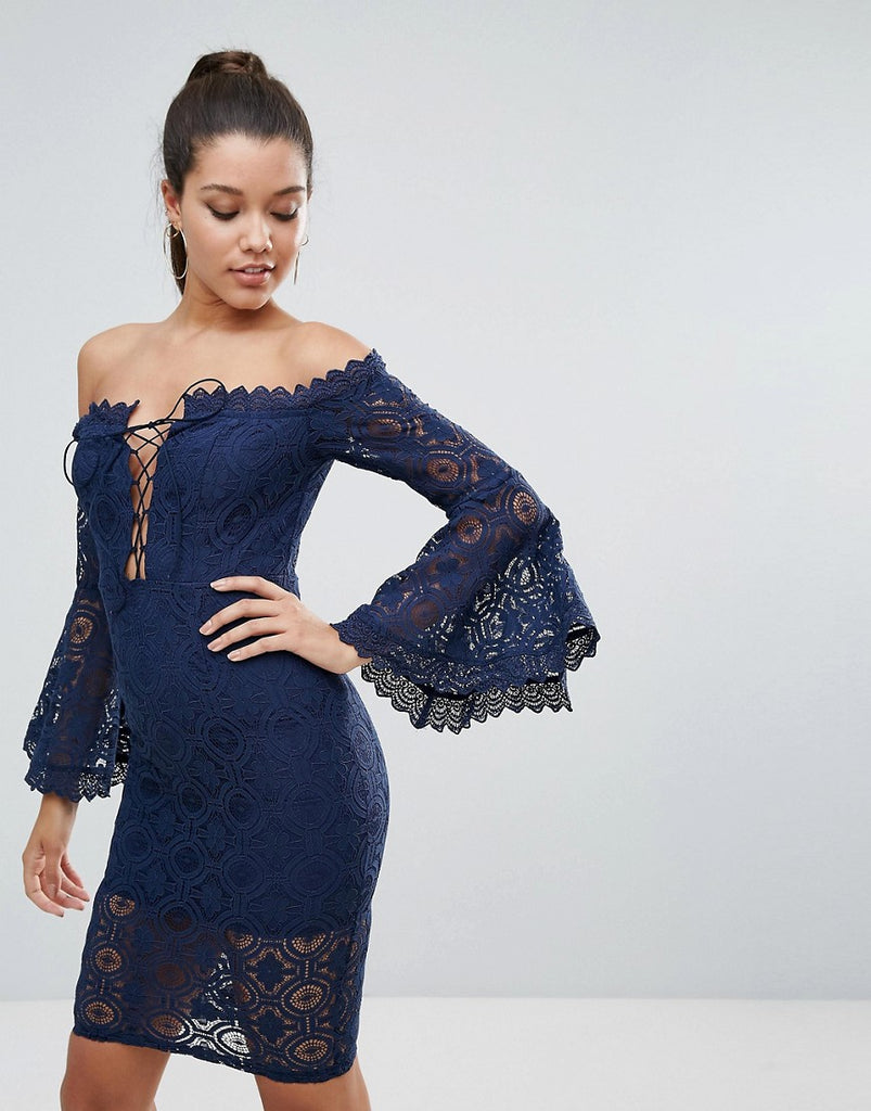 Love Triangle Allover Lace Off Shoulder Pencil Dress With Lace Up Detail - Navy