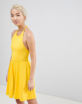 ASOS Mini Smock Sundress with Lace Up Back - Pink