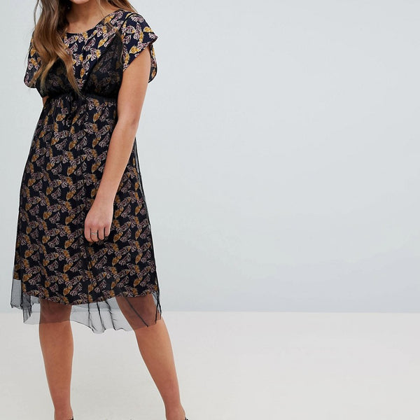 Hazel Floral Print Midi Dress with Mesh Overlay - Black