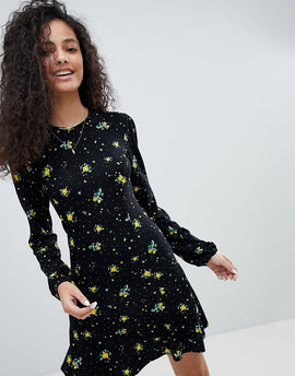 Nobody's Child Long Sleeve Dress With Flutter Hem In Vintage Floral - Black