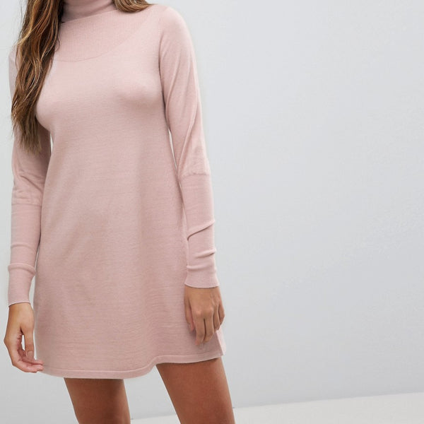 Fashion Union Polo Neck Knitted Mini Dress - Blush