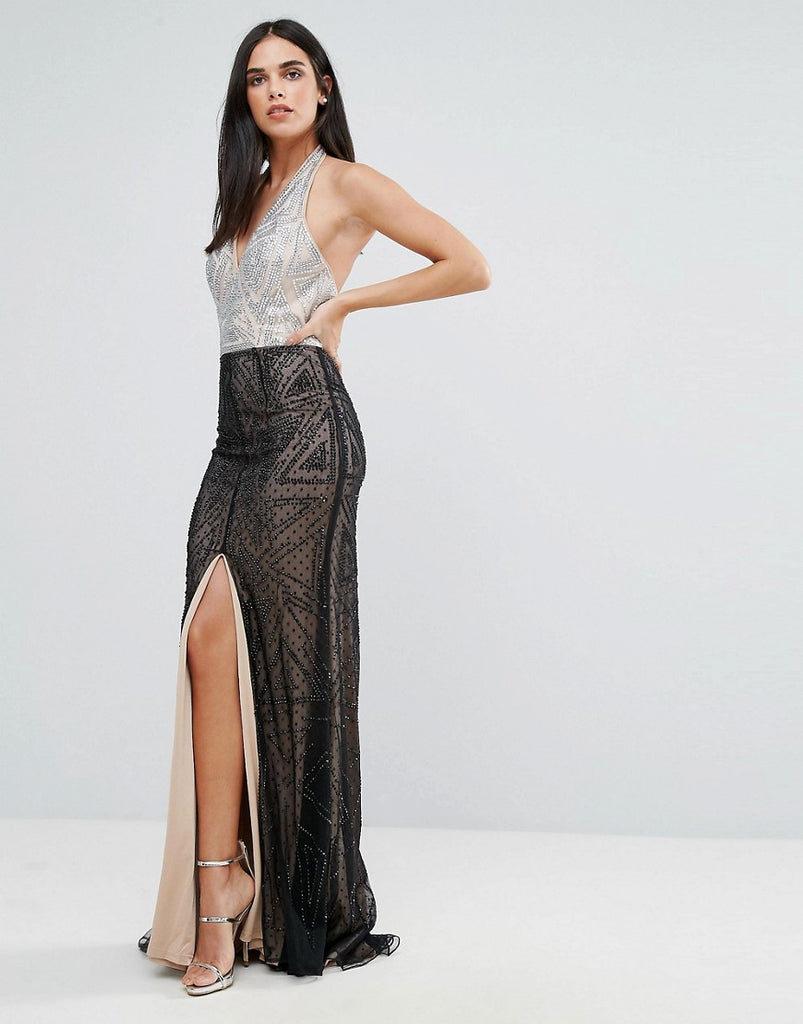 Forever Unique Halter Neck Maxi Dress - Black/silver