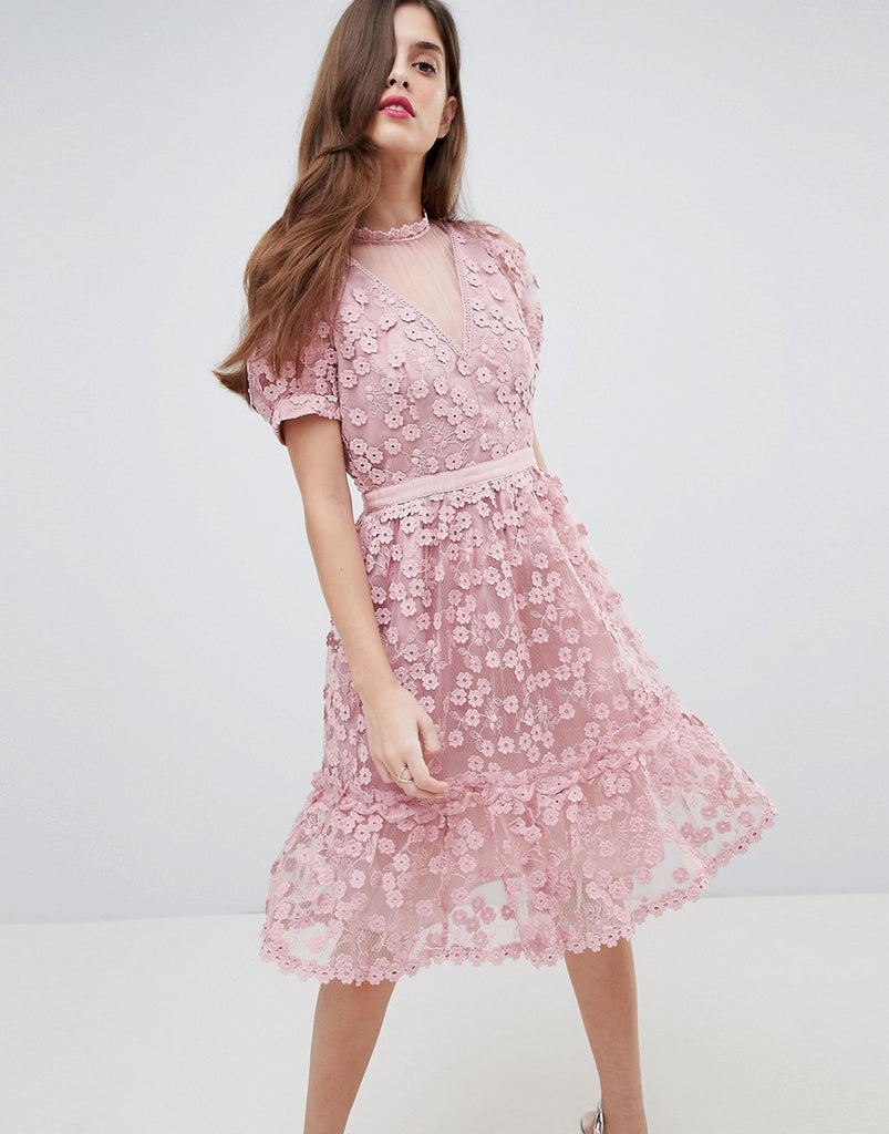 French Connection Lace Applique Dress with Mesh Panelling - Teagown