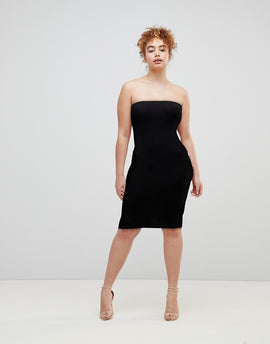 ASOS Midi Bandeau Rib Bodycon Dress - Black