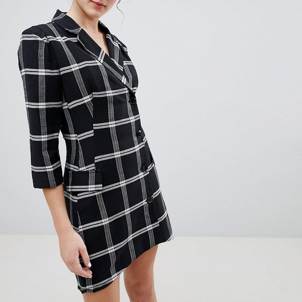 Bershka Check Shirt Dress - Black
