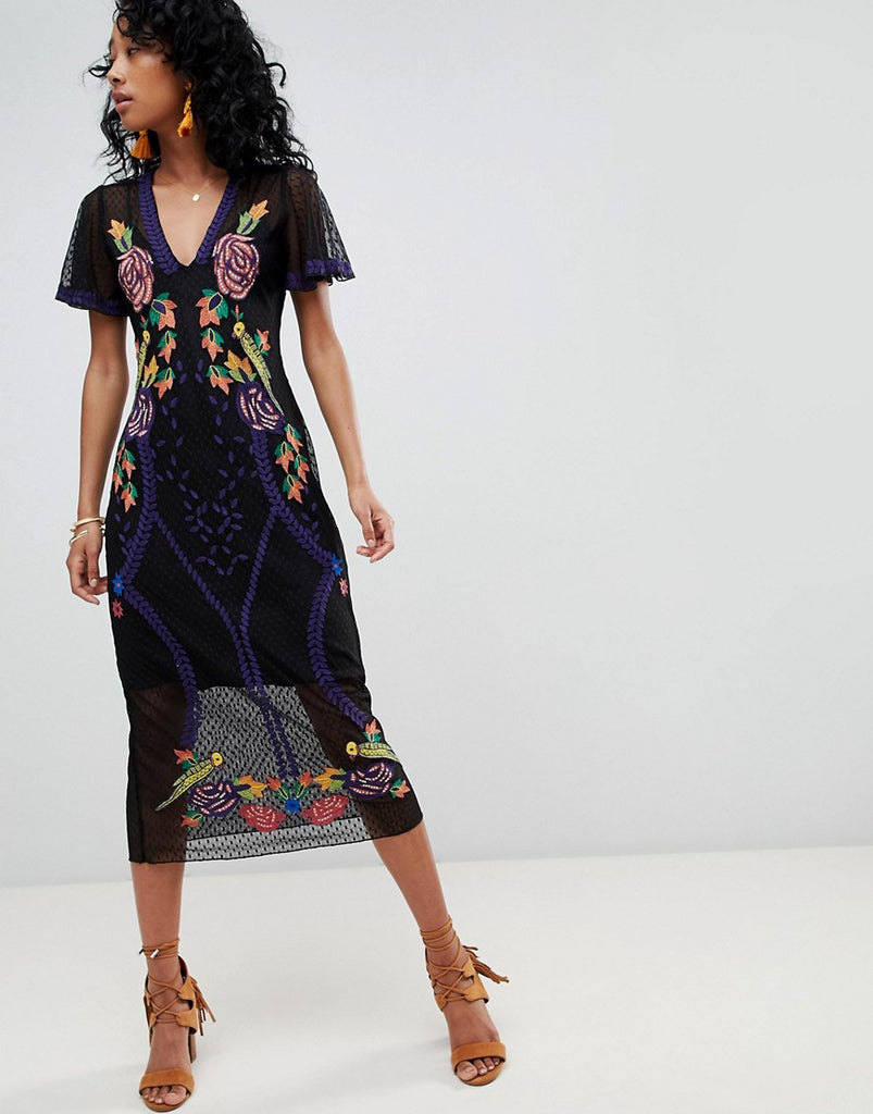 Cleobella Lace Midi Dress with Floral Embroidery - Multi