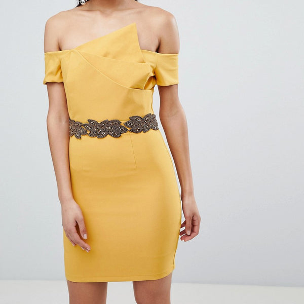 The 8th Sign Asymmetric Pencil Dress With Emebllished Waistline - Mustard