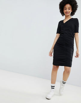 Monki Ruched Dress - Black