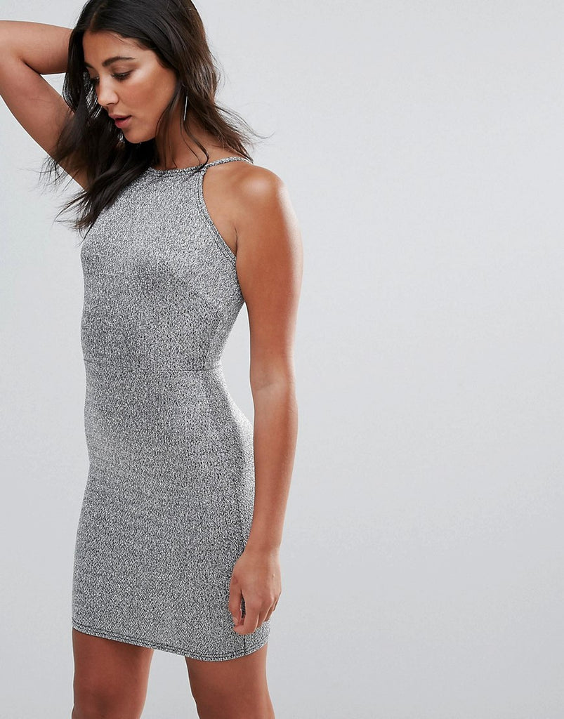 Oh My Love Square Neck Bodycon Dress - Silver