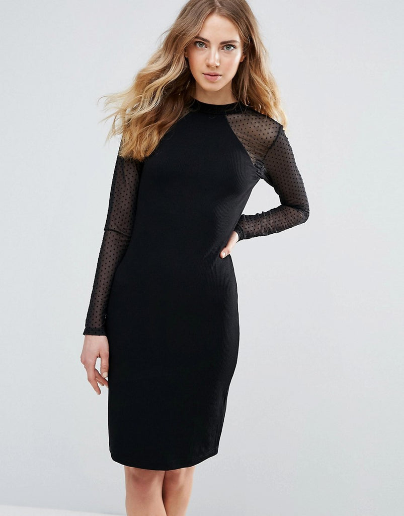 Ichi Bodycon Dress With Sheer Sleeves - Black