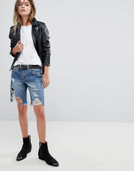 Blank NYC Boyfriend Denim festival Short With Distressing - Blue