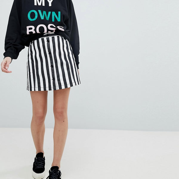Monki Button Up Striped Mini Skirt - Pinstripes