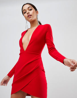 Bec & Bridge Long Sleeve Bodycon Mini Dress - Red