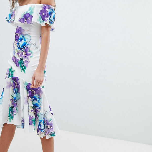 Jessica Wright Bardot Floral Dress With Frill Hem - White
