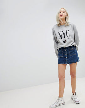 Pull&Bear Button Up Denim Skirt - Mid blue